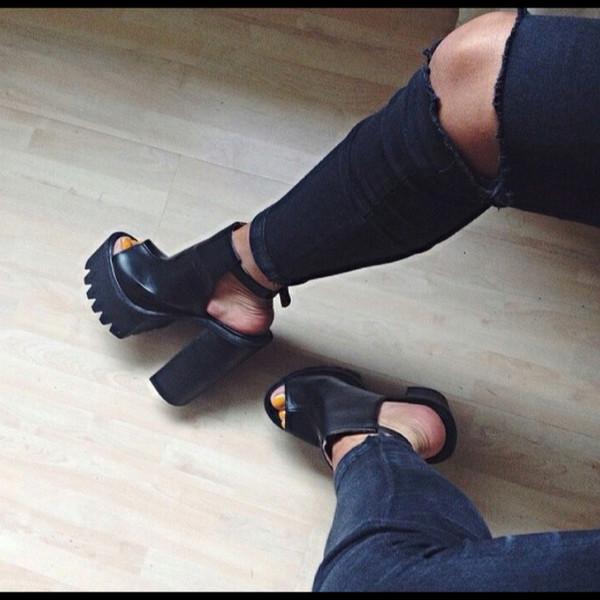 shoes boots ankle boots platform shoes black all black everything cut out ankle boots platform shoes cut out shoes