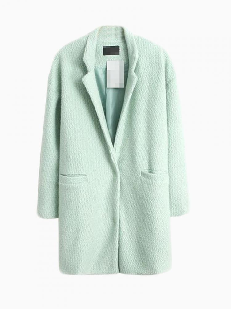 Light Green Longline Wool Coat   Choies