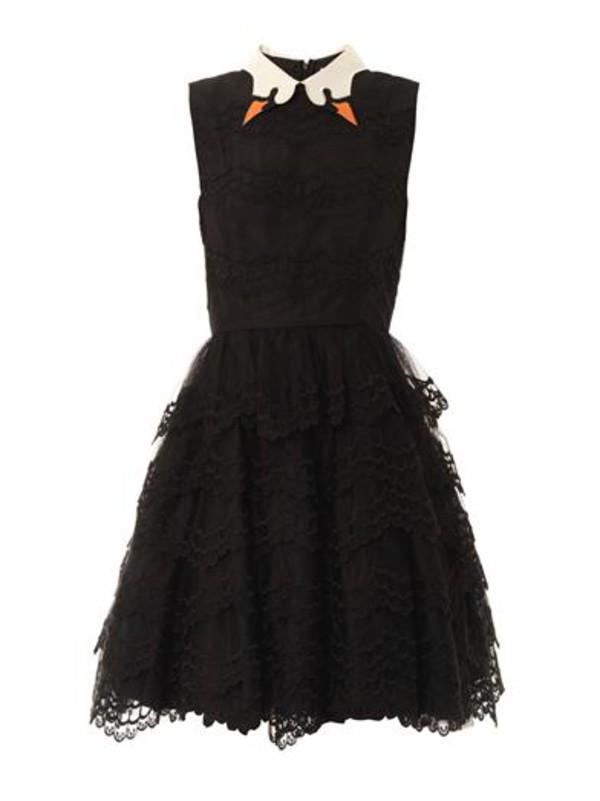 swan Valentino collar black dress dress