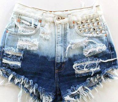 Hipster Ombre Studded Shorts - Arad Denim