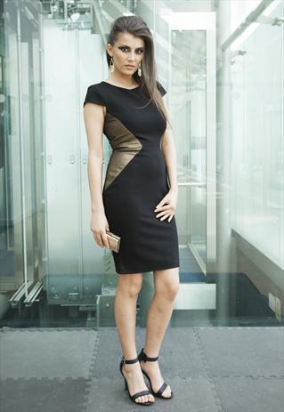 Gold & Black Panelled Body Con Jersey Stretch Dress | Yan Neo London Boutique | ASOS Marketplace