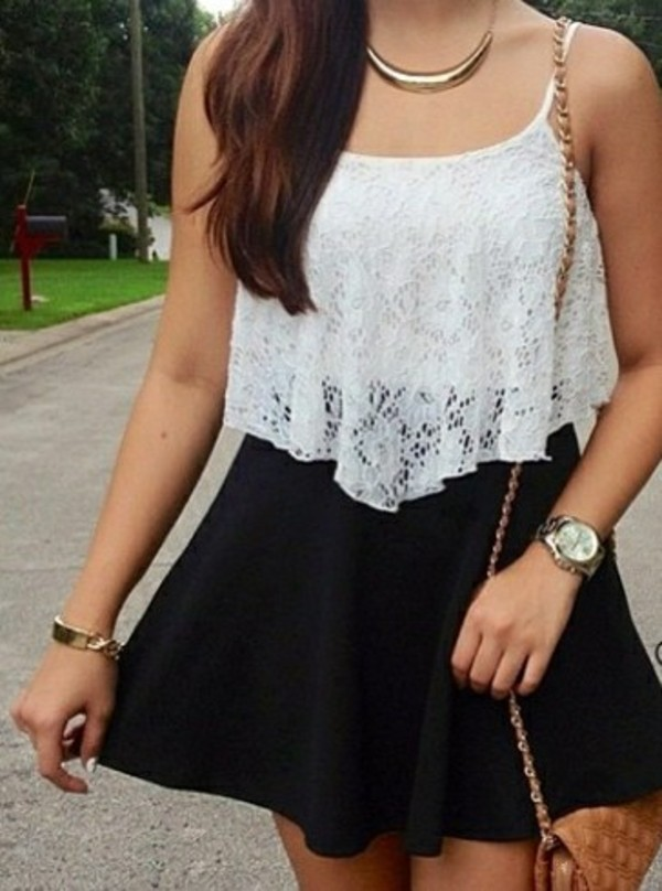 tank top crop tops cute white necklace bag skirt black bracelets gold jewels