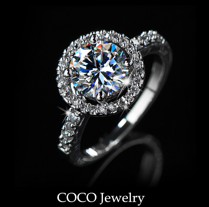 CZ Diamond Hearts & Arrows Ideal Cut Luxury Wedding Ring Women High Quality Cubic Zirconia Jewelry CR001 Wholesale-in Rings from Jewelry on Aliexpress.com