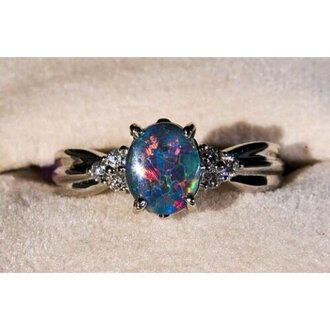 jewels galaxy print jewelry diamonds pretty engagement ring ring wedding ring blue wedding accessory silver opal gemstone colorful gemstone ring