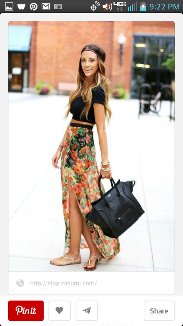 skirt floral hi low skirt crop tops headband hippe chic