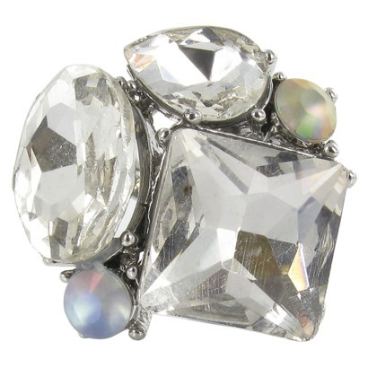 Multi Facet & Frosted Stone Ring - Clear : Target
