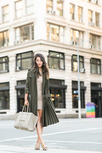 wendy's lookbook blogger coat shoes bag jewels army green jacket nude dress white bag mini dress flats animal print bodycon dress green long coat