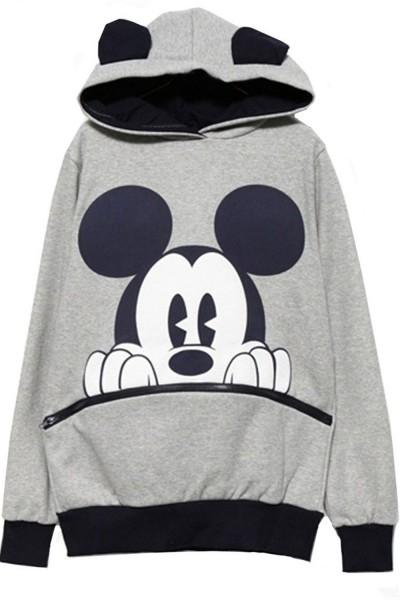 KCLOTH Long Sleeve Mickey Hooded Sweatshirt