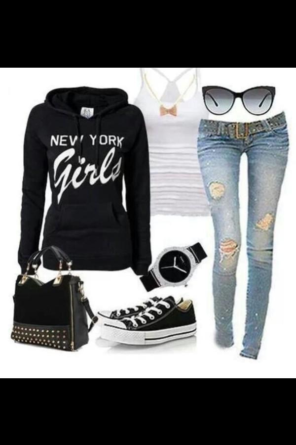 sweater jeans tank top