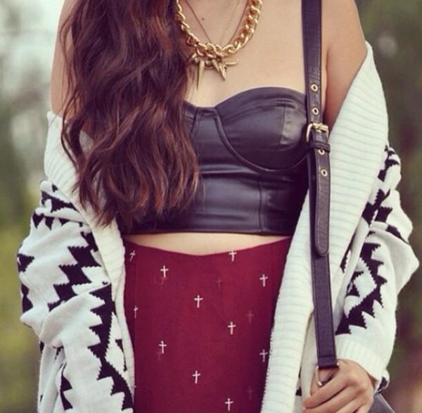 shirt sweater skirt jewels bag
