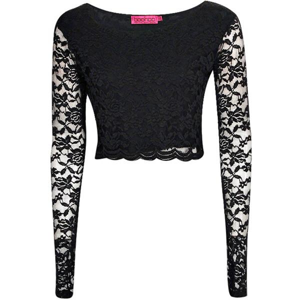 Boohoo Sienna Long Sleeve Lace Crop Top - Polyvore