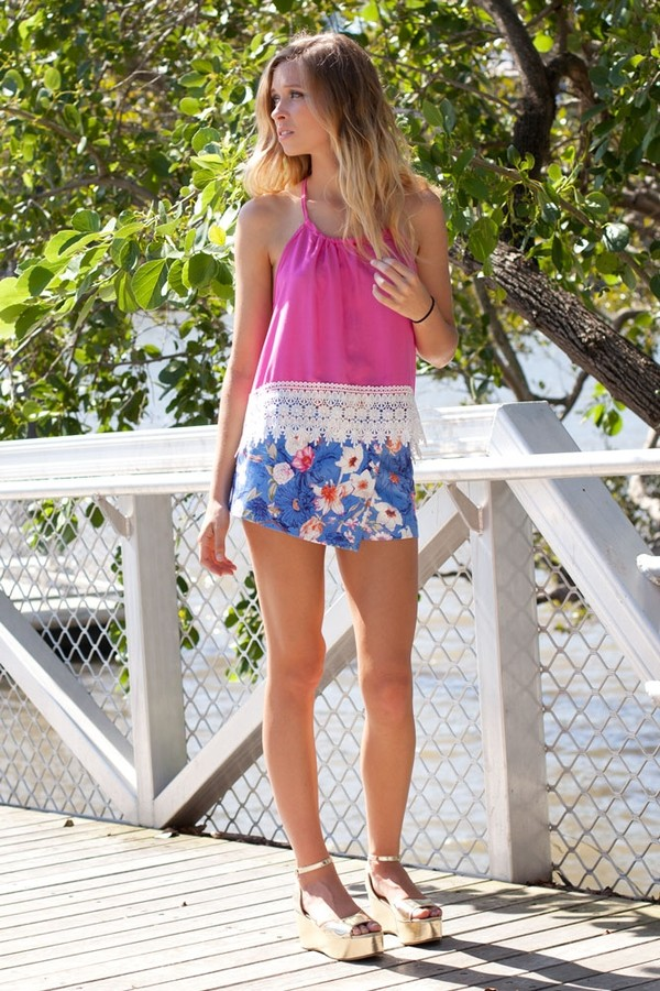 shirt pink top backless lace white pretty cute halter neck blue skorts floral shorts