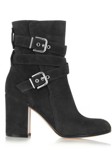 Gianvito Rossi|Buckled suede ankle boots|NET-A-PORTER.COM