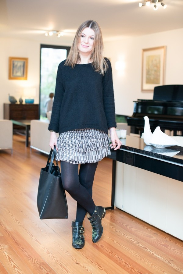 the working girl skirt jewels shoes bag sweater