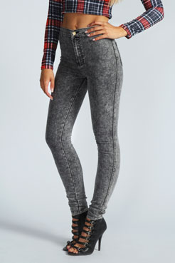 Alanna High Rise Super Skinny Disco Jeans at boohoo.com