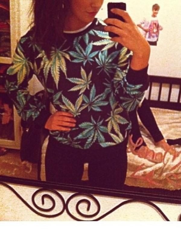 sweater weed blue green black crewneck