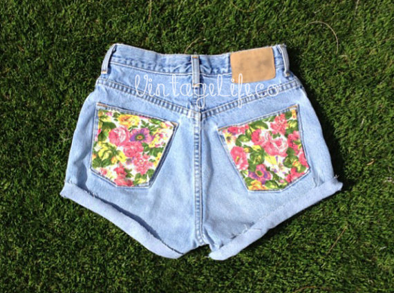 Vintage High Waisted Jean Shorts Floral Back by VintageLifeCo