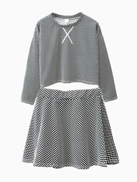 Dots Print Crop Top and Mini Skater Skirt   Choies