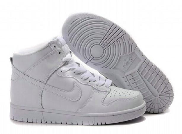 Wholesale High Tops Nike SB Dunk Men Women Premium SB All White