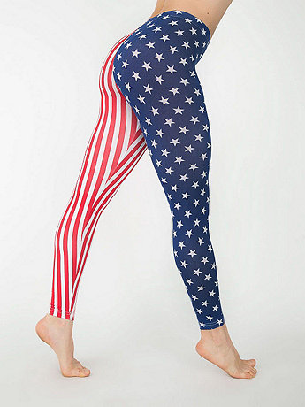 US Flag Print Cotton Spandex Jersey Legging | American Apparel