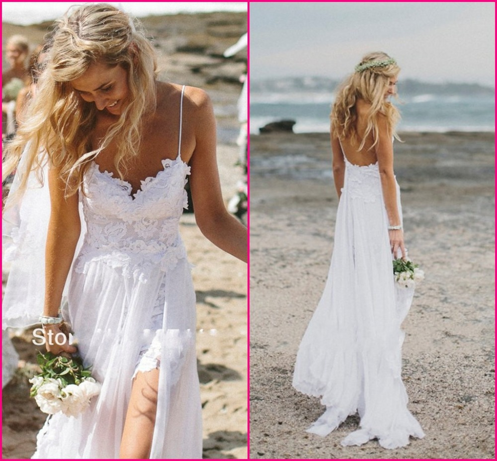 Stunning Vintage Boho White Beach Low Back Wedding Dresses Gowns Chiffon Dreamy Spaghtti Straps Slit Short Lace in Front-in Wedding Dresses from Apparel & Accessories on Aliexpress.com