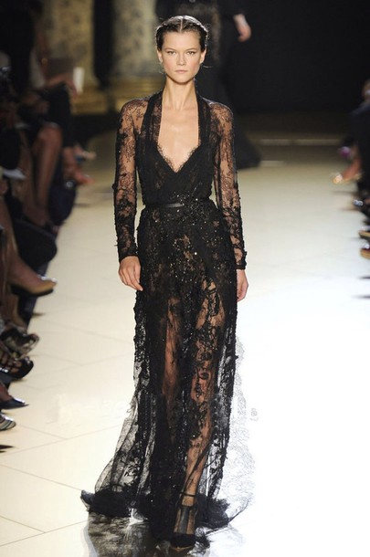 dress black lace gown or similar