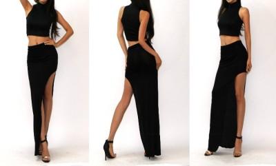 Sexy Urban High Waist Rayon Jersey Knit Side Open Leg Slit Long Maxi Skirt s M L   eBay