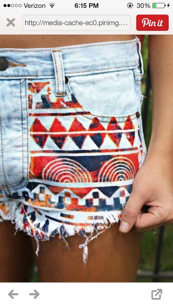 shorts aztec red orange high waisted denim