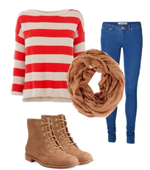 jeans scarf sweater shoes