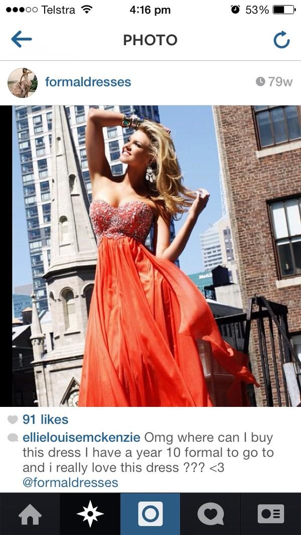dress orange dress prom dress formal dress