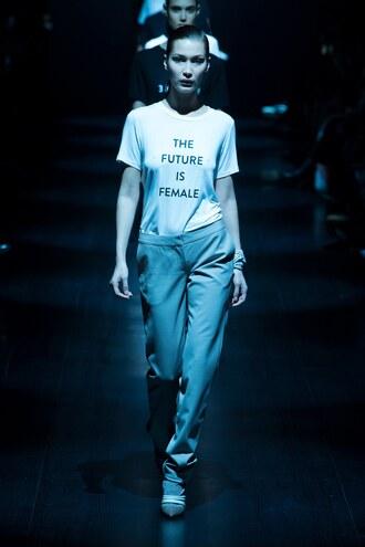top prabal gurung t-shirt ny fashion week 2017 bella hadid model runway pants nyfw 2017