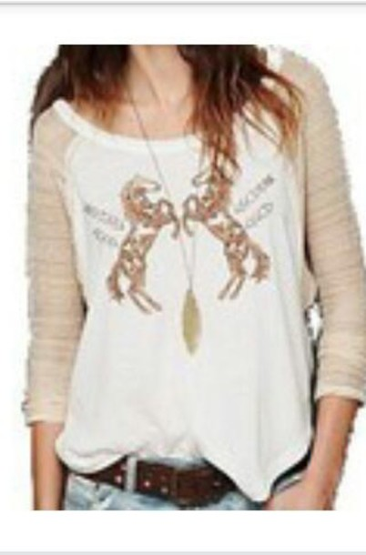 top free people beige logo horse