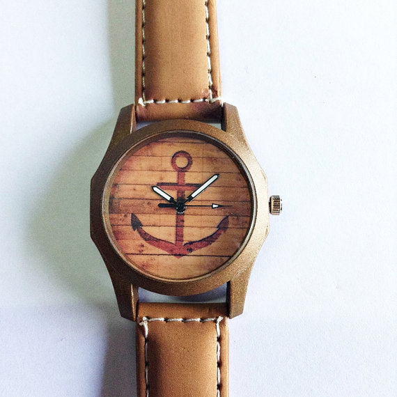 Anchor Watch  Vintage Style Leather Watch Retro Watch by FreeForme