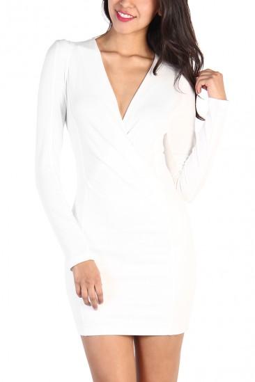 OMG Overlap Front White Dress