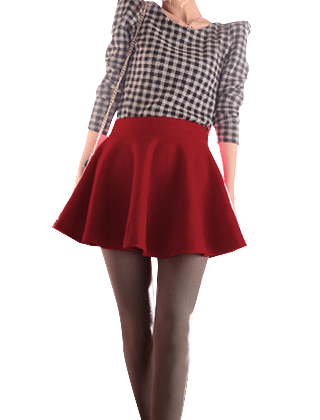 Ladies Red Elastic Waist Casual Shirred Mini Winter Skirt XS