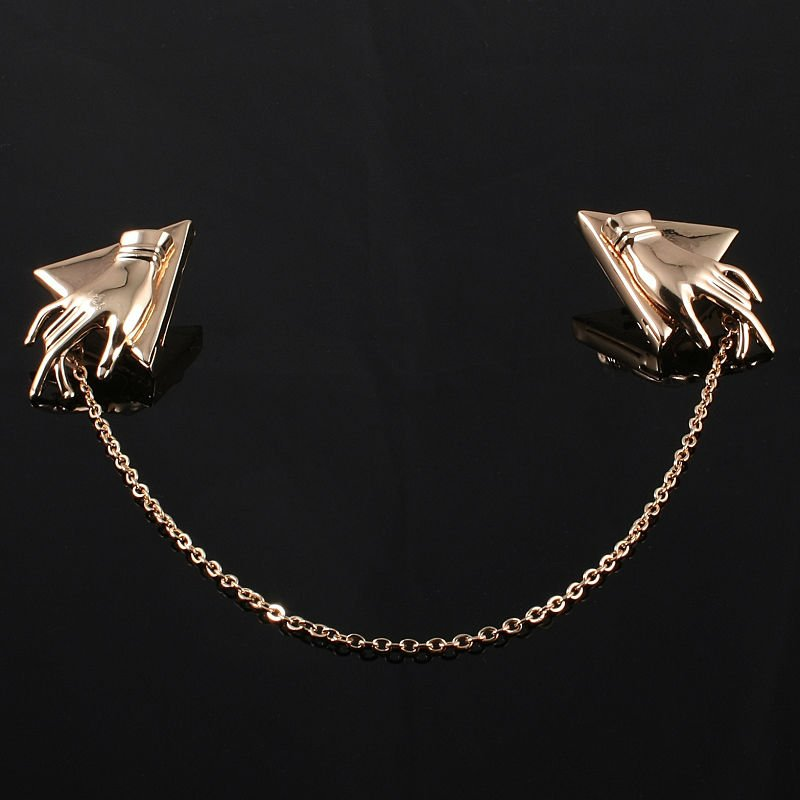 Perfect Women Gold GP Chain Hand Pointed Collar Clip Choker Pendant  NU91