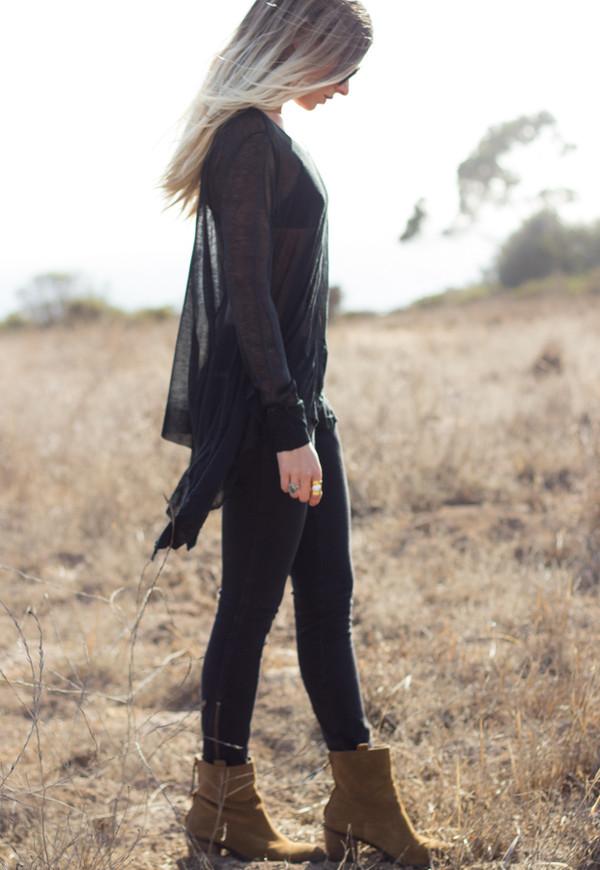 shirt top sweater knit black loose boho bohemian