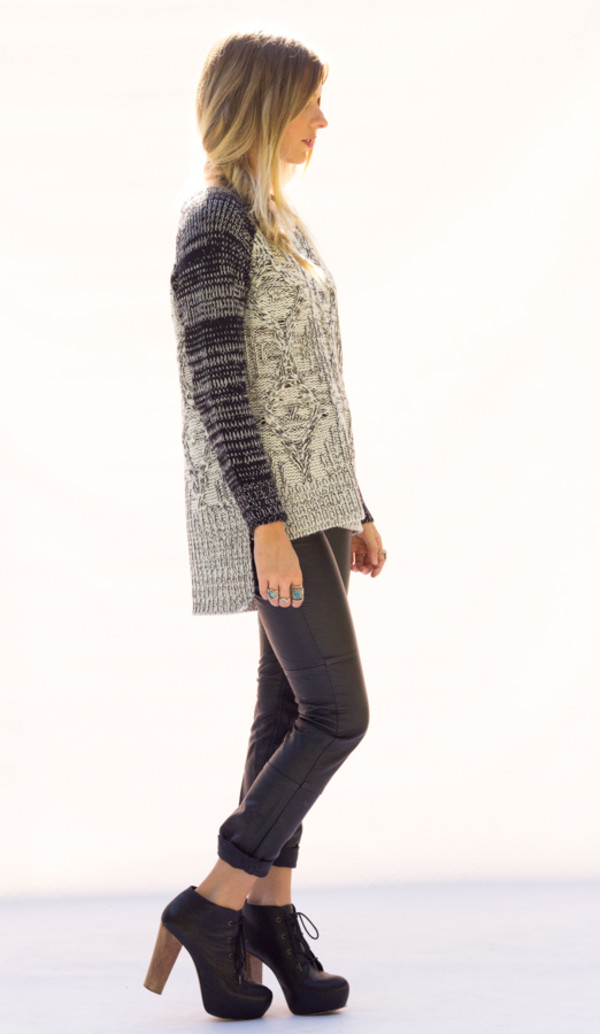 sweater knit long sleeves shirt top