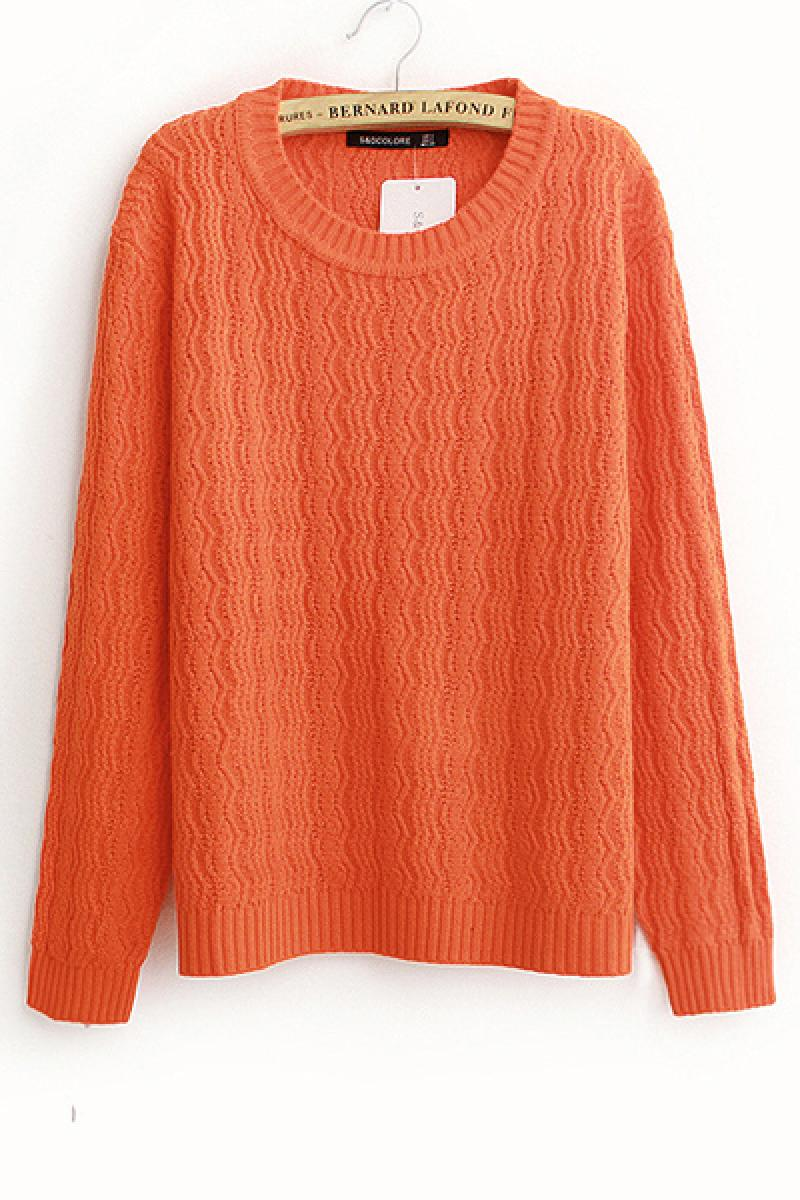 Western Round Neck Pullover Loose Hemp Flowers Knitted Sweater,Cheap in Wendybox.com