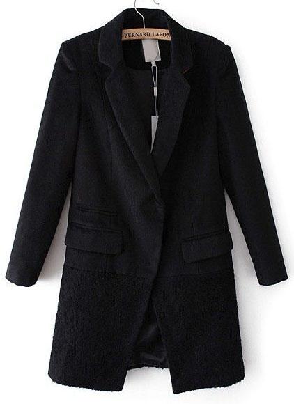 Black Notch Lapel Long Sleeve Pockets Coat - Sheinside.com