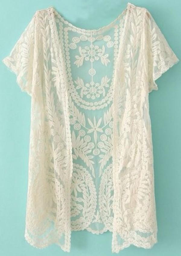 blouse cardigan cream lace cardigan