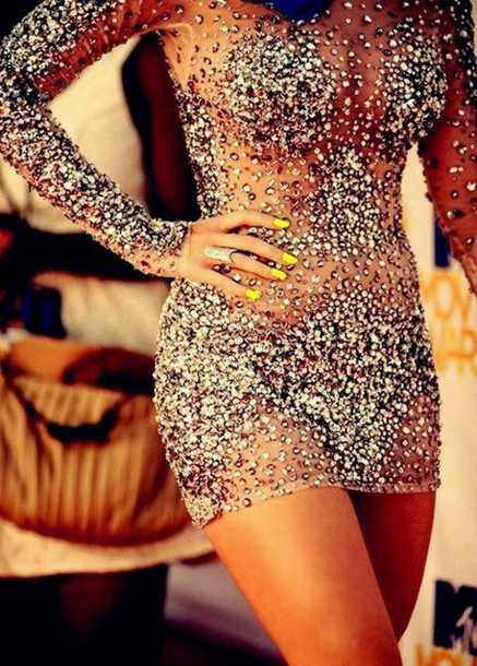 dress crystals short prom dress nude dress