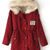 ROMWE   Drawstring Hooded Long Sleeves Red Coat, The Latest Street Fashion