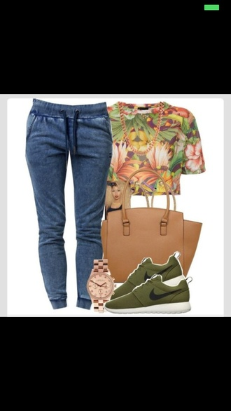 shirt pants bag blouse shoes tropical roshe runs green sneakers demin demin jeans green jewels t-shirt forest green jeans top