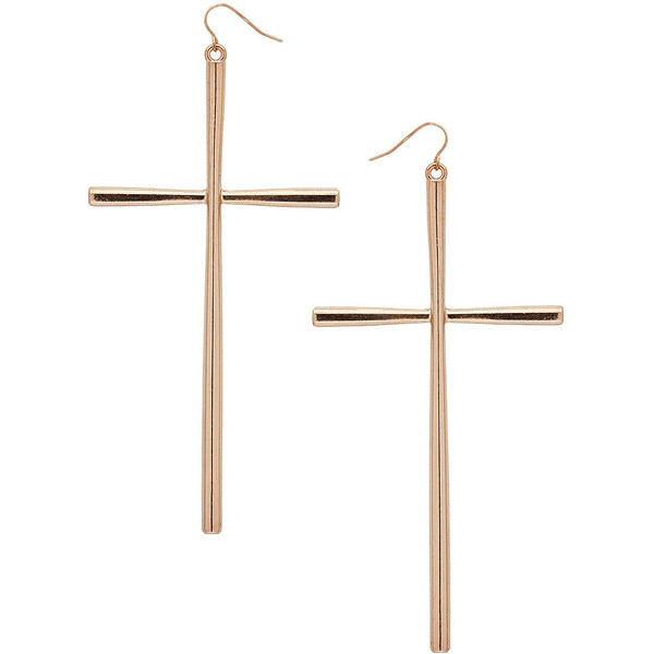 Large Cross Drop Earrings - Polyvore