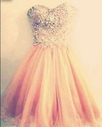 dress pink pink dress jewels cute cute dress glitter dress orange dress puffy