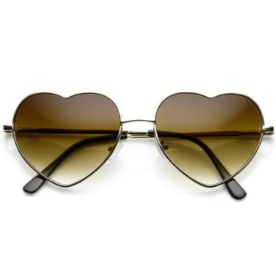 Amazon.com: Small Thin Metal Heart Shaped Frame Cupid Sunglasses (Gold Amber): Clothing
