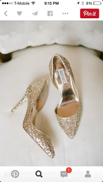 shoes badgley mischka gold heels