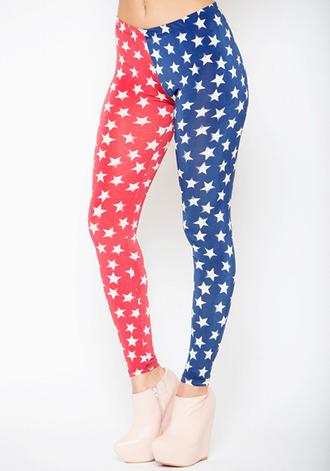 leggings american flag red white and blue stars