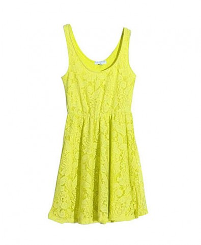 Neon Lace Vest Dress with High Waist